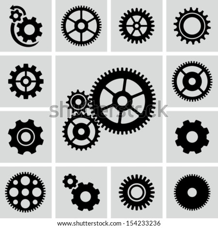 Gear wheels icons set - stock vector