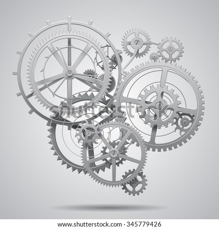 Gear wheels of clockwork in black and white on light surface. Techno background. Vector Illustration - stock vector