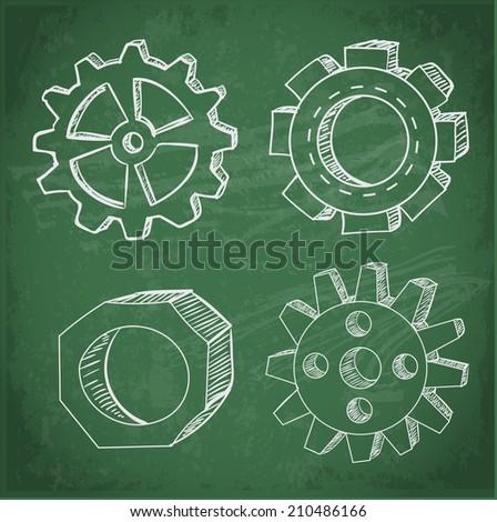 Gear wheels sketches on blackboard. Vector illustration. - stock vector