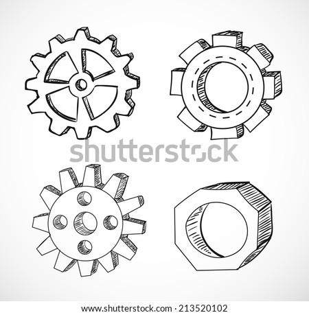 Gear wheels sketches. Vector illustration. - stock vector