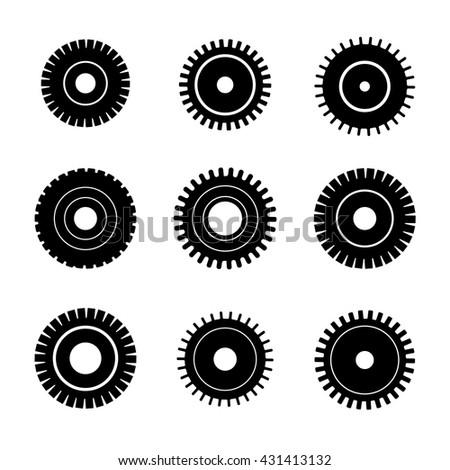 Gear wheels vector icons set. Gear wheel, machine gear wheel, engineering gear wheel - stock vector