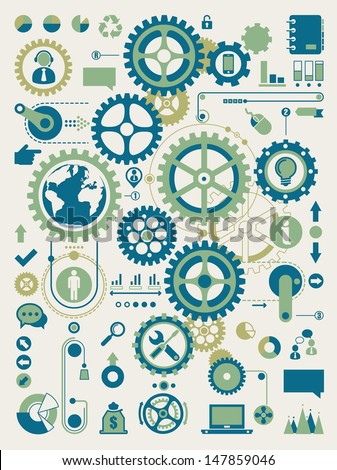gears and cogs, - stock vector