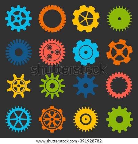 Gears and cogs icons set. Cog wheel Icon Collection. Vector illustration of cog icons isolated on black background. - stock vector