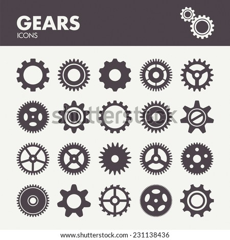 Gears and cogs. Icons set in vector - stock vector