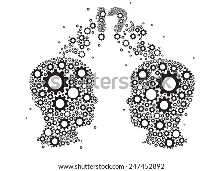 gears and cogs in form two heads - stock vector
