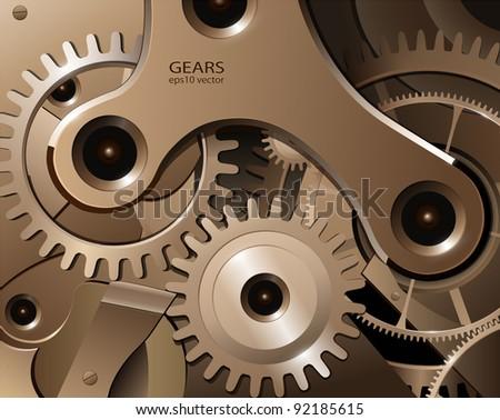 Gears and cogwheels from watch mechanism, vector background. - stock vector