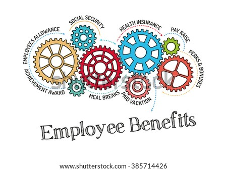 Gears and Employee Benefits Mechanism - stock vector