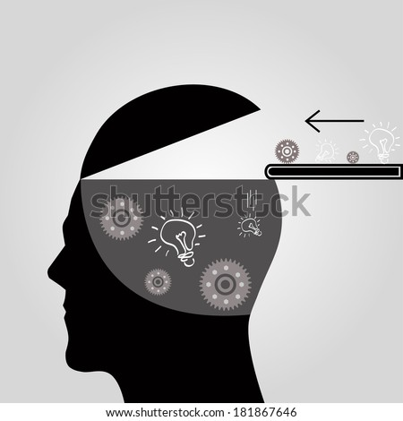 Gears and light bulbs in the heads of people. - stock vector