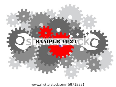 gears and spanner background - stock vector