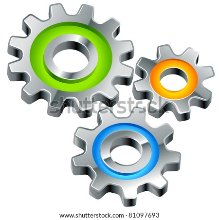 gears as settings or configuration or preferences icon - stock vector
