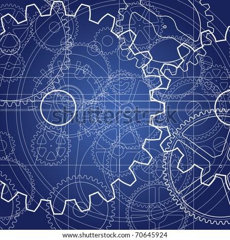 Gears blueprint - stock vector