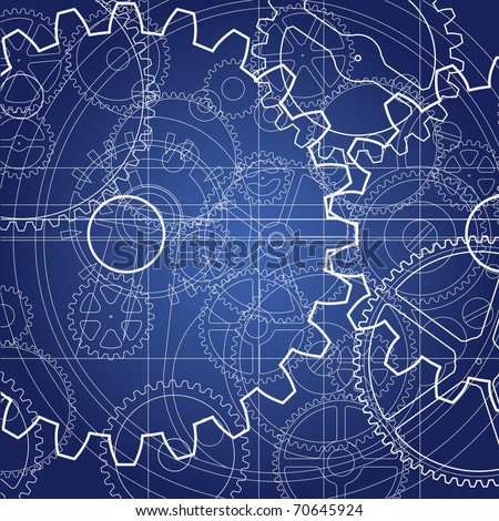 Gears blueprint background technical drawing design stock vector gears blueprint background technical drawing design industrial cogs and wheels plan malvernweather Image collections