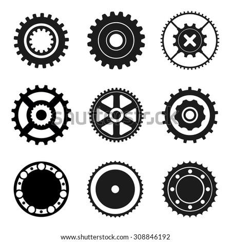 Gears, circular saw, bearing. Black icons  - stock vector