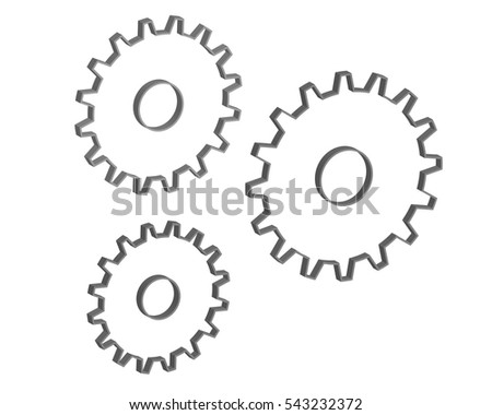 Gears 3d design vector on white isolated background.