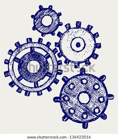 Gears. Doodle style - stock vector