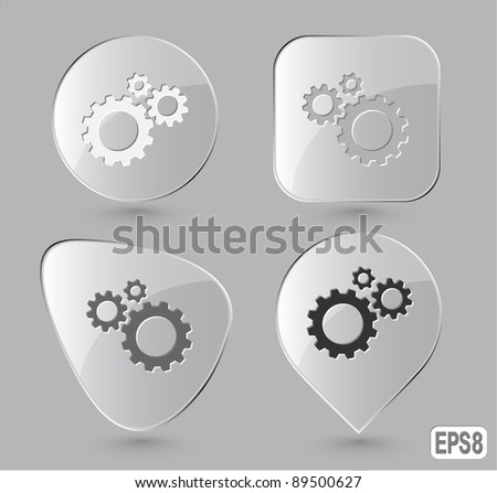 Gears. Glass buttons. Vector illustration. - stock vector