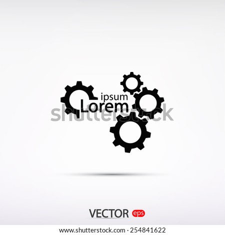 gears icon, vector illustration. Flat design style  - stock vector