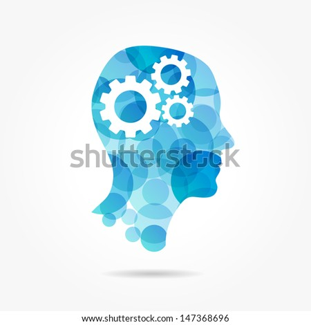 gears in bubble head poster - stock vector
