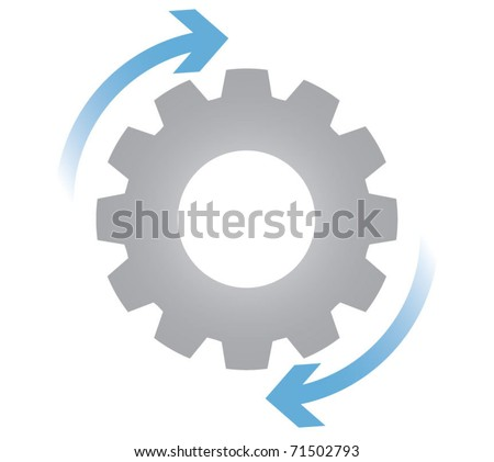 Gears in motion, business process concept - stock vector
