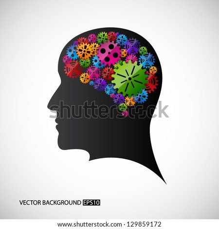 Gears in the mind profile. EPS10 vector - stock vector