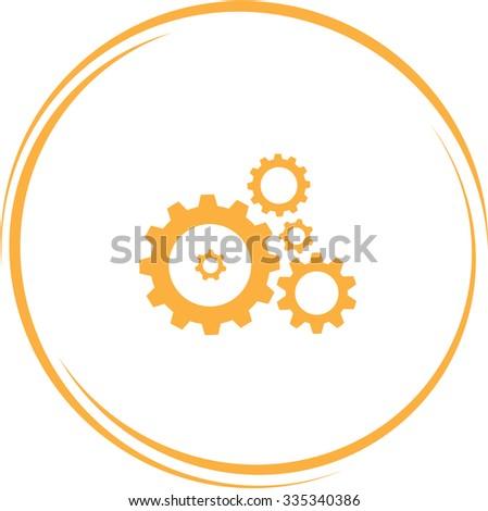gears. Internet button. Vector icon. - stock vector
