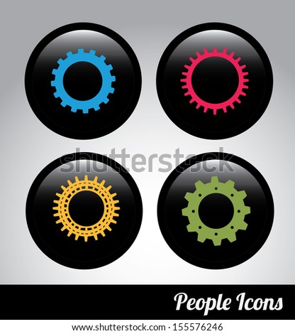 gears label over black background. Vector Illustration   - stock vector