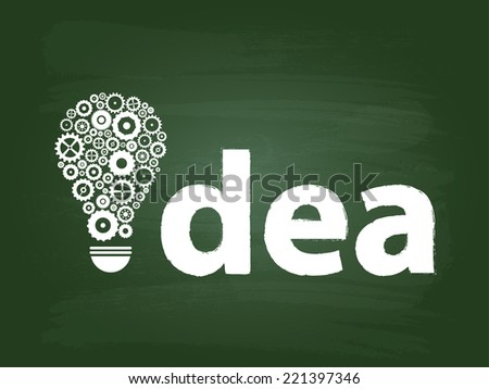 Gears Light Bulb Idea Concept On Green Chalkboard - stock vector