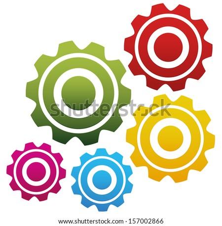 Gears, machinery, factory, industrial, clockwork, mechanism, engineering, background vector (composition) - stock vector