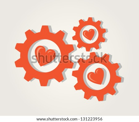 Gears of Love. Abstract red gears with hearts. - stock vector
