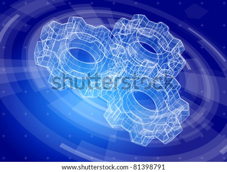 Gears on a blue radial technology background. Vector illustration. Eps10 - stock vector