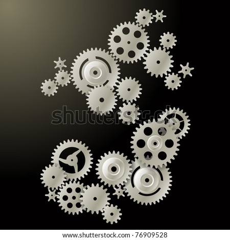Gears on a dark background - stock vector