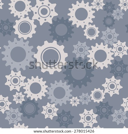Gears seamless vector pattern, engineering and technology concept - stock vector