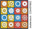 Gears shapes vector set, tooth wheels icons with blend shadows for web and app - stock