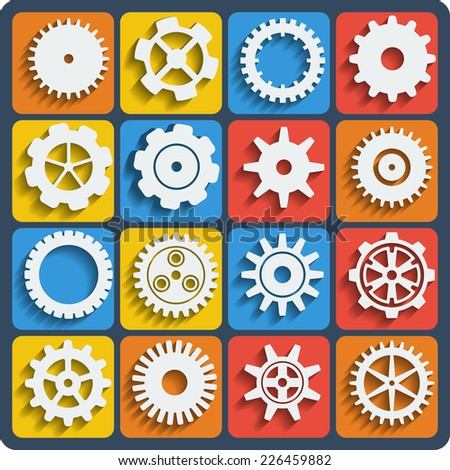 Gears shapes vector set, tooth wheels icons with blend shadows for web and app - stock vector