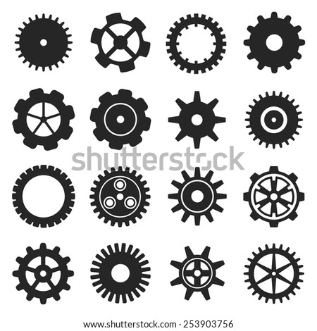 Gears shapes vector set, tooth wheels logo icons for web and app
