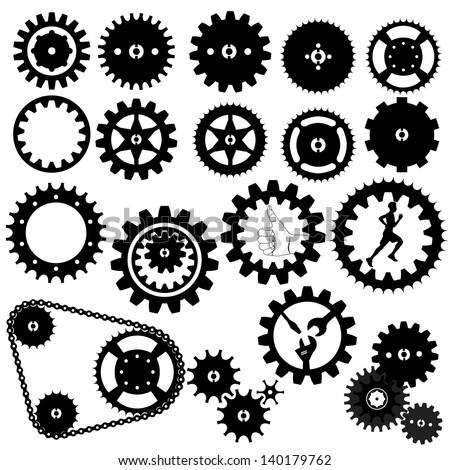gears silhouette vector  - stock vector