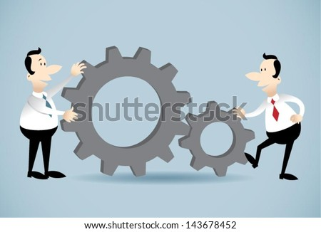 Gears teamwork.Vector illustration on two businessman fitting gears together