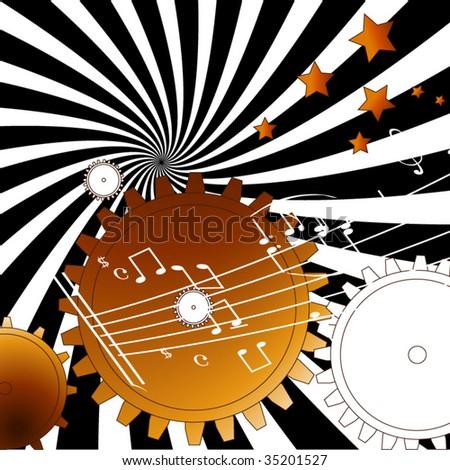 Gears time  mechanism - stock vector