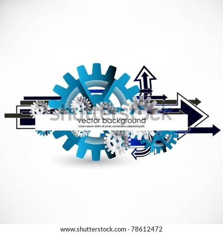 gears vector background with arrows - stock vector