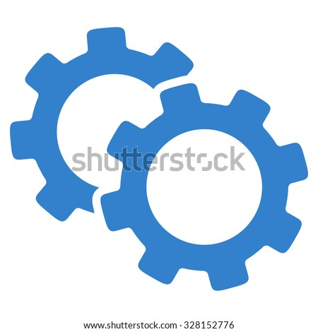 Gears vector icon. Style is flat symbol, cobalt color, rounded angles, white background. - stock vector
