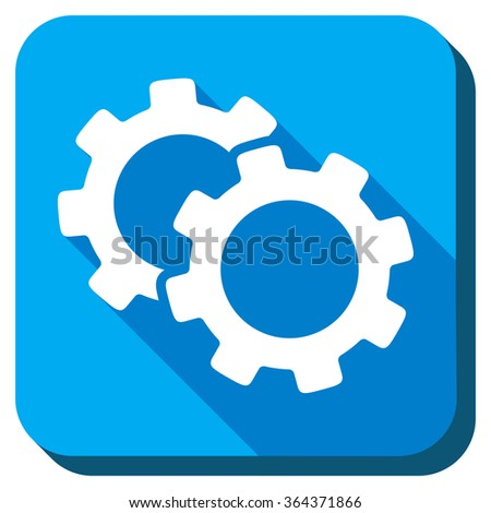 Gears vector icon. Style is rounded square light blue button with long shadows. Symbol color is white. - stock vector