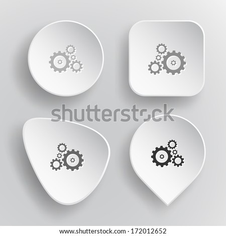 Gears. White flat vector buttons on gray background.