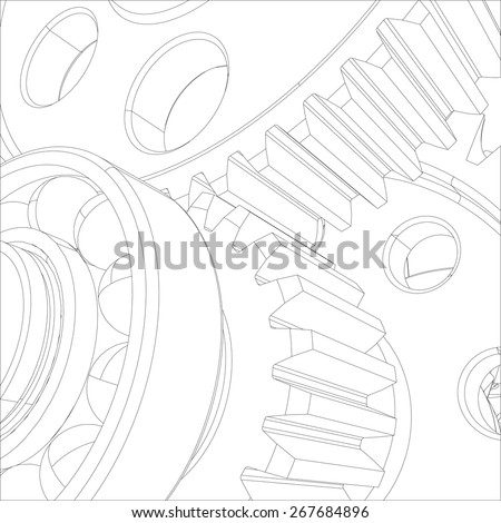 Gears with bearings and shafts. Close-up. Vector illustration, 3d render - stock vector