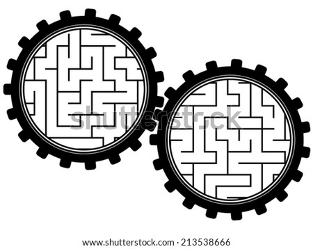 Gears with fragments of labyrinth inside - stock vector