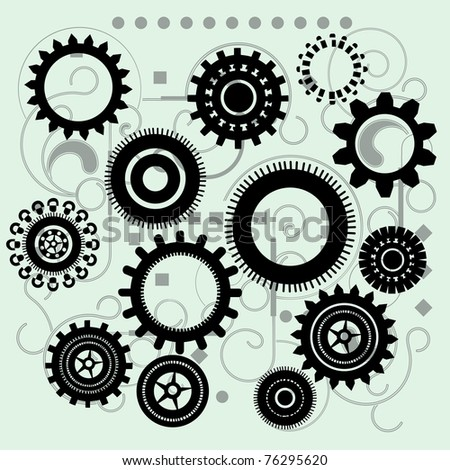 Gears with funky circuit board behind - stock vector