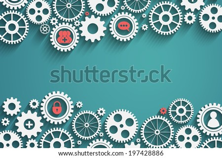 gears with icons inside, add friend, bubble, lock and other, vector eps10 - stock vector