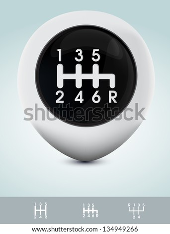Gearshift knob - stock vector