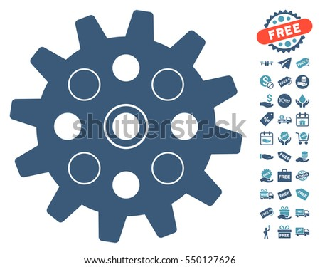 Gearwheel icon with free bonus clip art. Vector illustration style is flat iconic symbols, cyan and blue colors, white background.