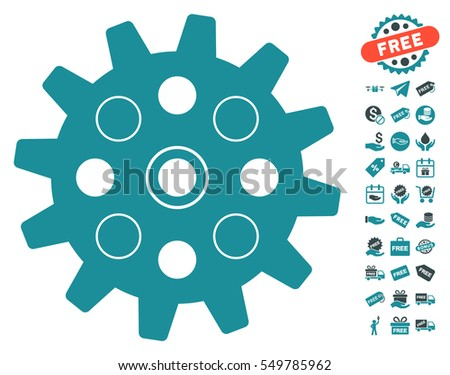 Gearwheel icon with free bonus pictograph collection. Vector illustration style is flat iconic symbols, soft blue colors, white background.