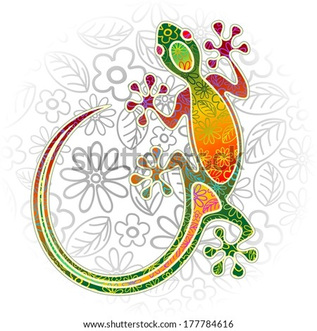 Gecko Floral Tribal Art - stock vector